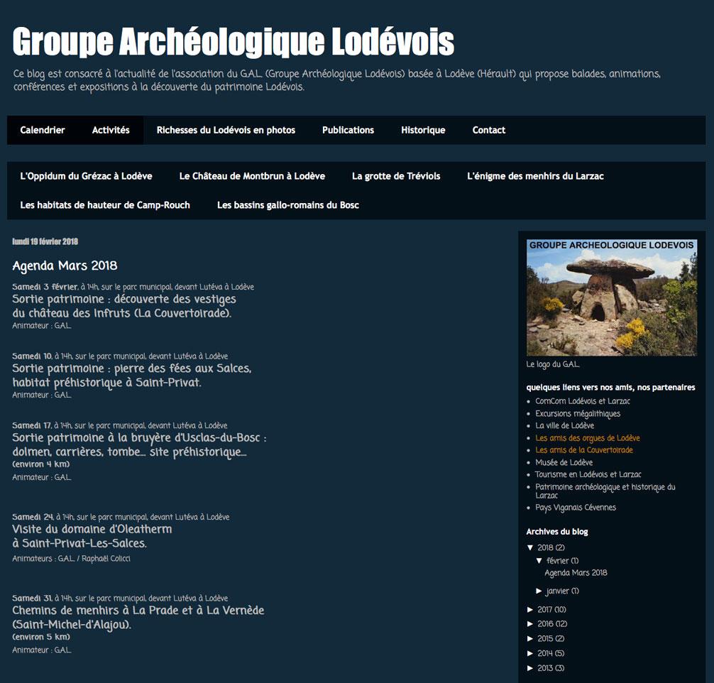 Refonte du blog du Groupe Archéologique Lodévois